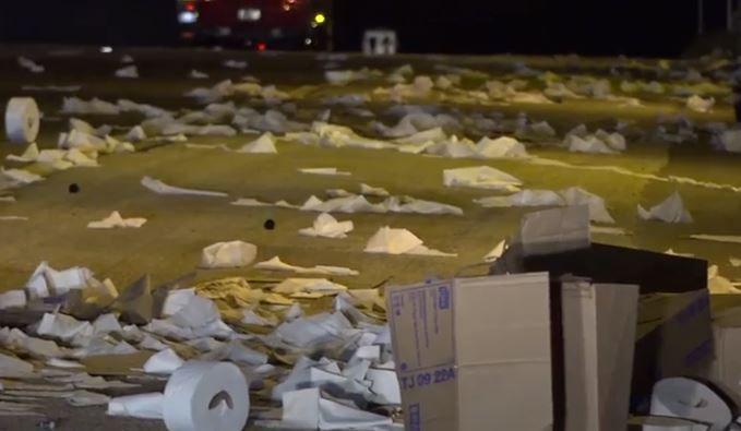 18-Wheeler Crashes, Sends Burning Toilet Paper Flying Across Freeway in Texas